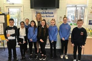Jenny Gilruth with pupils at Rmbleton Primary