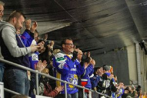 Fife Flyers fans at the play-off quarter-final against Nottingham Panthers last Saturday. Pic: Jillian McFarlane
