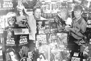 Staff at the Phantom Menace display in Woolworths in 1999