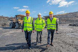 Fergus Ewing (left) visits Mainshill Quarry Ap 2019
