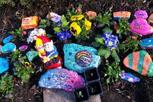 Stones decorated by pupils for the garden at Inchkeith Court in Glenrothes.