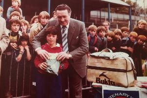 Jock Stein, Celtic manager,  at Stark 's Park,. Kirkcaldy in 1979