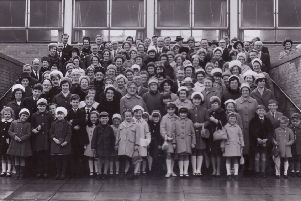 The original Torbain Church congregation at Torbain School in 1964