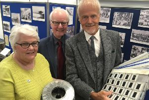 Linda Ballingall, & David Brown from Glenrothes Heritage Centre with former Glenrothes town artist Malcolm Robertson who has donated the the Centre a huge collection. (Pic FFP)