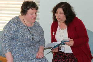 Working together...Elaine Thomson (left) from Peebles has received a huge amount of support from Alison Paton-Day, the ECLO based at BGH eye clinic.