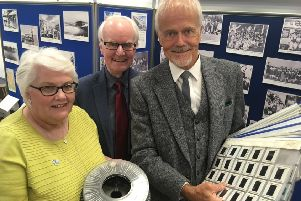 Linda Ballingall and David Brown from Glenrothes Heritage Centre with former town artist Malcolm Robertson.