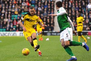 Callum Crane in action against Hibs in the Scottish Cup in February. Pic - Fife Photo Agency