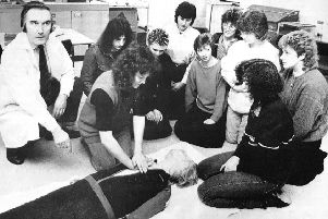 Student Nurse Deirdre Duncan practices CPR at the new College of Nursing and Midwifery in Kirkcaldy in 1987