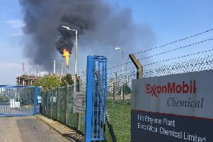 Unplanned flaring at Mossmorran perto chemical plant in Fife Sunday April 21 2019 (pic Neil Henderson)