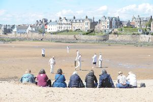 Ship Inn CC v Borderers CC on Elie beach, Sunday, May 12. Picture by George McLuskie.