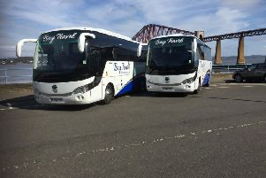 A Bay Travel bus carrying Raith Rovers supporters had its rear window smashed in Forfar on Saturday.
