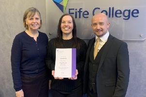 Pictured are, from left, Sheila Boyd, director of Care, Social Sciences and Education at Fife College, Steph Rook and Dr Andy Dalziell.