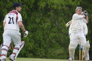 StAUSCC Captain Stan Frankland (right) and James Crooks (left) during their partnership against Falkland 2nd XI. Photo credit A Haines