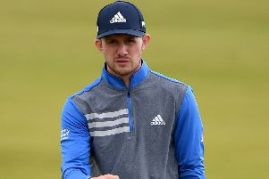 Connor Syme  in action during the second round of the Betfred British Masters at Hillside Golf Club  in Southport. (Photo by Ross Kinnaird/Getty Images).