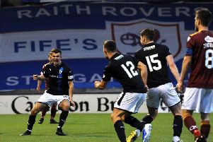 Dave McKay (left) scores the goal that gives Raith Rovers hope for the second leg. Pic: Fife Photo Agency