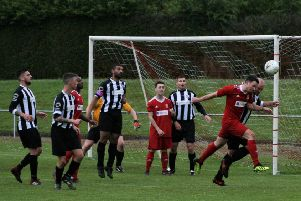 Newburgh defend a Glens attack. Pic by Graham Strachan.