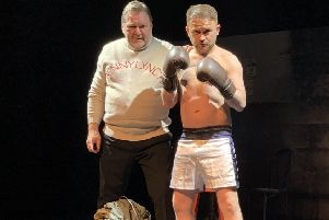 Stephen Purdon on stage with William McBain who plays Benny's coach and mentor Sammy Wilson.