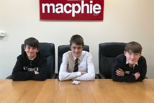 Left to right - Mackie Academy pupils Owen Weston, Aidan May and Jamie McCulloch