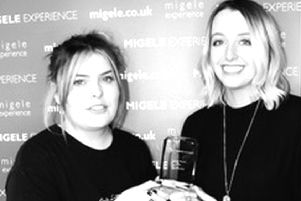 Pictured are Mairi Gibson (left) and Paula Law from Migele Experience with the award for Best Innovation.