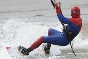 Clinton Gaw is inviting people to take part in an extreme fancy dress kite surfing event to raise money for his partner's treatment.  Pic: George McLuskie.