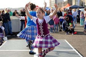 If its wet tomorrow the Highland Dancers will perform inside The Mercat. Pic  credit- Fife Photo Agency