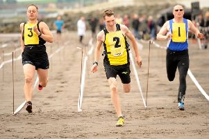 Runners taking part in events on the sands at the 2019 Kirkcaldy Beach Highland Games. Pic credit- WALTER NEILSON.
