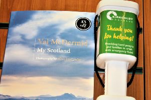 Val McDermid at Waterstones, Kirkcaldy with an appeal to donate to Kirkcaldy Foodbank