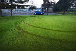 The tyre marks as seen on the 17th green at Oldmeldrum Golf Club