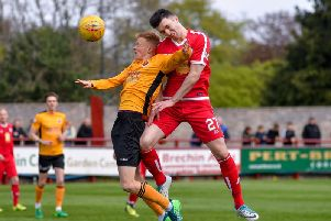 Michael Miller (right) pictured in action for Brechin City last season. Pic: Dave Johnston / Alba Pictures