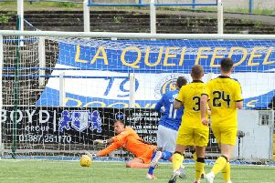 Dean Lyness makes a save during Raith's Championship play-off final 2nd leg at Queen of the South. Pic: Fife Photo Agency