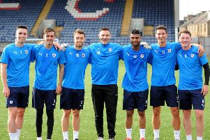 Raith Rovers training - new signings Michael Miller, Kieran MacDonald, Brad Spencer, David McGurn, Joao Victoria, Grant Anderson, Regan Hendry. Credit- Fife Photo Agency