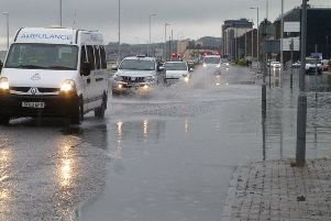 Floods on the Esplanade (Pic: Martin Blankenstein)