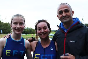 Libby Smith, Elise Methven and Eck Anderson at the Foxlake triathlon Pic by IMac Images.
