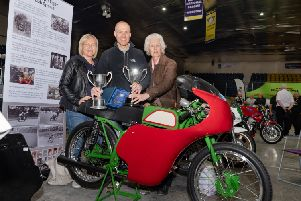 Richard Whittaker with his late father Alan's racer with his wife and mother who made the journey from Wakefield for the show. Pic: RD Photography.