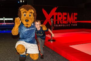 Roary Rover and a young fan promote the Roary's South Stand Shot, sponsored by Xtreme Trampoline Park in Glenrothes.