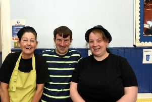 Cafe Inc. volunteers at Kirkcaldy West Primary. From left, Gail Howard, Mark Anderson and Denise Smith.