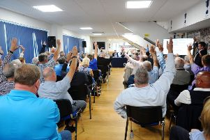 The show of hands was indicative of the feeling in the room, but could not pass the resolution. Picture Michael Gillen.