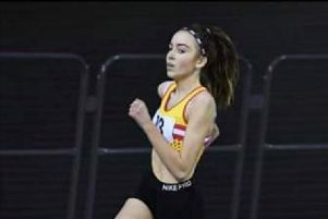 Leah Keisler in action in Wales (Pic courtesy of athleticsdigital.com)