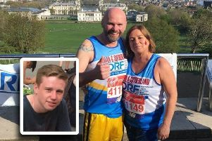 John and Lin ran the London Marathon, in memory of Aidan, inset.
