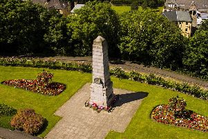 The imposing Bo'ness war memorial from the air. Pic courtesy Charlie Simpson