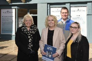 Marilyn Livingstone and members of the Adam Smith Global Foundation, Michael Levack, Vicki Hutchison and Heather Brown putside the new unit in Merchants' Quarter. Pic: FPA.