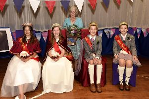 Mrs Joan Dryburgh with the Royal Party - Olivia Byrne, Queen Natalie Angus, King Sam Connolly and Jack Ross. Pic: Photo Agency