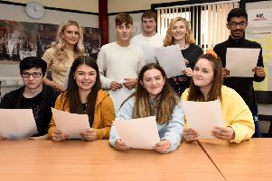 Senior pupils at Kirkcaldy High with their exam results. Pic: Fife Photo Agency.