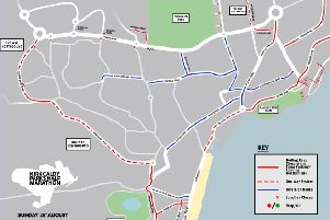 The map, produced by event organiser, Kirkcaldy Parks Half Marathon,  shows the planned road closures and traffic disruptions.