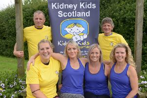Some of the runners from Auchtertool: Liam Stewart and Mike Smart; Val Bruce, Rebecca Simpson, Jill Hamilton and Jo Mitchell. Pic: George McLuskie.