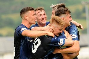 Raith Rovers - Grant Anderson mobbed by team mates after scoring - credit- Fife Photo Agency