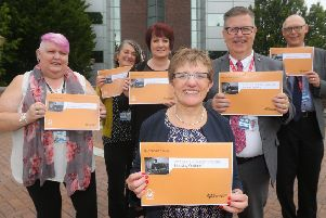 From left to right: Sandra Brown -  Project Officer (WHIR), Sheila Noble - Co-ordinator (FVAWP), Lynda Carey - Operational Lead Fife Women's Aid, Cllr Judy Hamilton - Convener of Housing & Communities, Paul Short, Service Manager Housing, Health & Social Care and Older Persons and John Mills - Head of Housing Services.