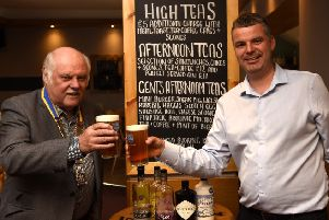 Jason Borthwick, owner of The Sands Hotel,  with Burntisland and Kinghorn Rotary President Ken Kirkwood promoting the Beer and Gin Festival in Burntisland. Pic: Fife Photo Agency.
