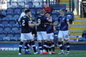 Raith players celebrate Kieron Bowie's first senior goal against Peterhead in the Betfred Cup. Pic: George McLuskie