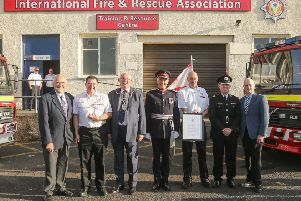 IFRA receives its Queen's Award from Robert Balfour, Lord-Lieutenant, with Provost Jim Leishman, , David Kay IFRA director;  Fire Chief Roddie Keith, Cllr Ross Vettraino and former Deputy Lieutenant Graham Bennet